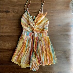 Brand new with tags Lush striped watercolor romper